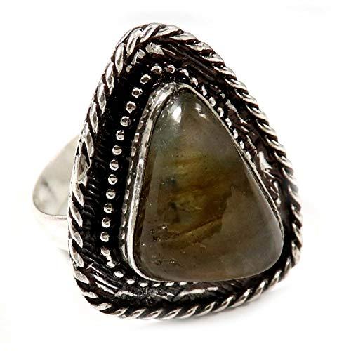GoyalCrafts Anillo de piedras preciosas de labradorita natural, tamaño del Reino Unido, chapado en plata GRN42