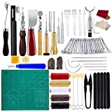 BUTUZE Practical Leather Tools 60 PCS Complete Craft Sewing Kit for Beginner/Professional- Leather Crafting Kit for Bookbinding, Sewing, Leather Working,Leather Making