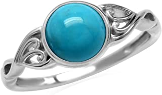 Silvershake 7mm Genuine Arizona Turquoise 925 Sterling Silver Victorian Style Solitaire Ring