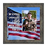 Crossroads Home Décor Be Strong and Courageous, Biblical Military Gift, American Flag Picture Frame, 6341BW
