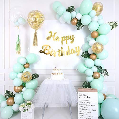 Grüne Luftballons Girlande mit Weiß Ballon Konfetti Ballons Matellic Latex Ballons Geburtstag Dekorationen für Hochzeit Mädchen Kinder Geburtstag Party Dekoration