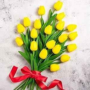 Whaline – Ramo de tulipán artificial de 20 unidades, tacto real, material de látex de tulipán sintético, para el hogar…