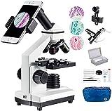 1000x Microscopio Compuesto de Regla móvil - de Laboratorio con LED, con Accesorios para microscopio, portaobejtos con preparados y en Blanco