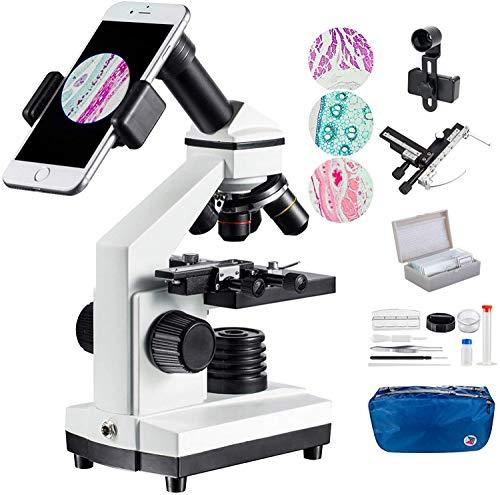 MAXLAPTER 100x-2000x Mikroskopen Bewegliches Lineal Mikroskopen Labor LED mit vorbereiteten und leeren Objektträgern Mikroskop Objektiv Adapter Zubehör