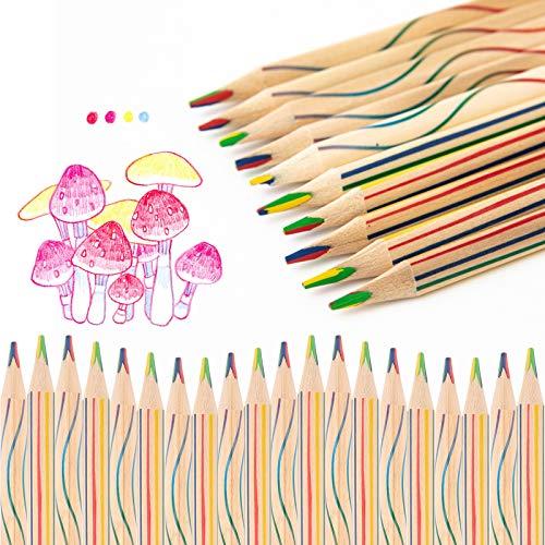 Mitening Regenbogen Buntstift, 30 Stücke Zeichnung Bleistift 4 in 1 Regenbogenfarben Buntstift Zauberstift Farbstift - für Erwachsene Kinder Kunst Zeichnung, Färbung und Skizzieren
