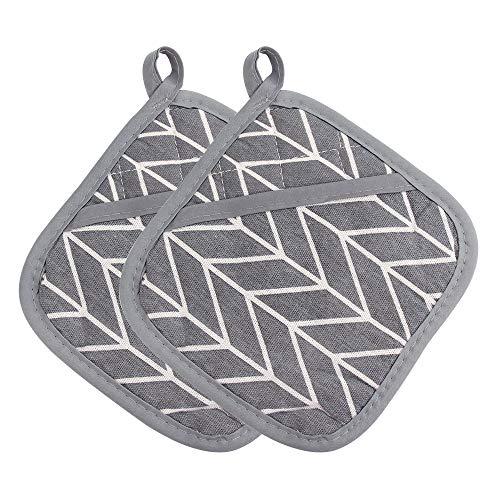 Topflappen aus Baumwolle,Topflappen 2er Set Hitzebeständige Topflappenmatten mit Tasche Muster für Küche Kochen Backen Grau (Topflappen)