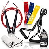 Pros-Fit Resistance Bands Exercise Loops Set of 3, Power Loop with Handles, Adjustable Speed Jump...