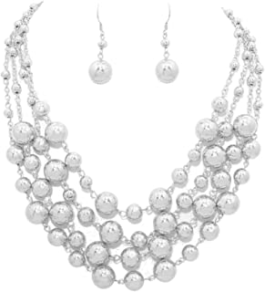 Chunky Multistrand Shiny Silver-Tone Round Bead and Chain Layered Necklace 16 Inch with Earrings