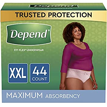 Depend FIT-FLEX Incontinence Underwear For Women Disposable Maximum Absorbency XXL Blush 44 Count  2 Packs of 22   Packaging May Vary