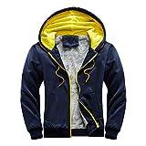 Mens Winter Hoodie Warm Fleece Zipper Sweater Jacket Outwear Coat Loose Wool Warm Thick Coats Overcoat Cardigan Dark Blue
