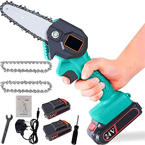 SEGIBUY 4 Inch The Mini Electric Chainsaw Ever Battery-Powered Wood Cutter Rechargeable Best Price Handheld Mini Pruning Shears Chainsaw for Tree Trimming Wood Cutting Rechargeable Chainsaw