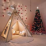 Kids Teepee Play Tent, Cotton Canvas Indian Play Tent, Foldable 4 Poles Children Play Tent with Window Baby Toy Gifts for Girls Boys Indoor and Outdoor Use