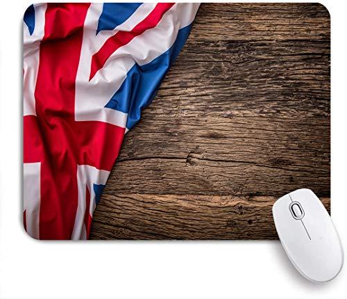 NOLOVVHA Tapis de Souris de Jeu,Union Jack, Drapeau du Royaume-Uni sur la Vieille Planche de Bois de chêne Nation Anglaise Pays Grande-Bretagne,pour Ordinateur de Bureau Portable,240 x 200 mm