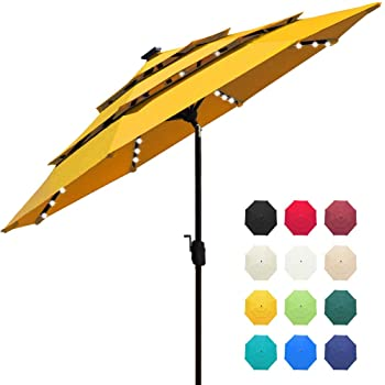 EliteShade Sunbrella Solar 9ft 3 Tiers Market Umbrella with 80 LED Lights Patio Umbrellas Outdoor Table with Ventilation and 5 Years Non-Fading Top,Sunflower Yellow