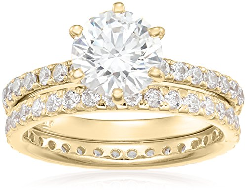 Yellow-Gold Plated Sterling Silver Round Ring Set made with Swarovski Zirconia (1 Carat Center Stone), Size 7