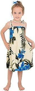 Island Style Clothing - Girls Tube Dress Hawaiian Floral Leaf Smocked Summer Party