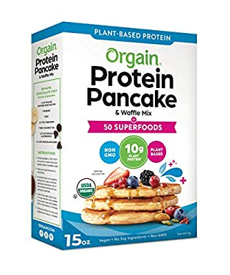 Orgain Protein Pancake & Waffle Mix, Various Flavors - Made with Plant Based Protein and without Dairy & Soy, Non-GMO, 15 Oz
