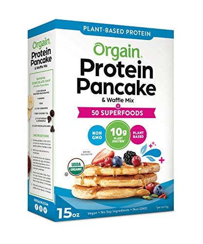 Orgain Protein Pancake & Waffle Mix, 50 Superfoods - Made with Mango, Organic Kale, Chia Seeds, Carrot, Beet Powder, Wheat Grass & Tart Cherry, 10g of Plant Based Protein, Non-GMO, 15 Oz
