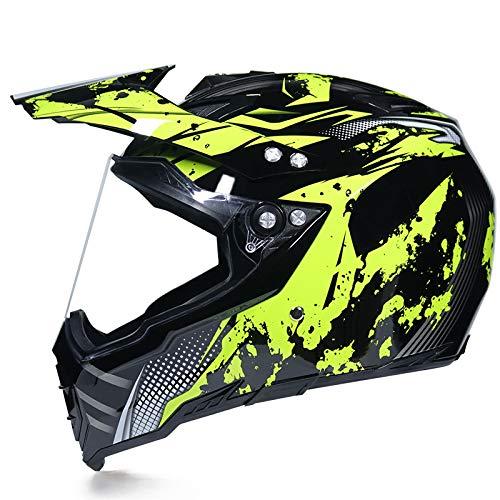 SHOPTOP Casco de Motocross Casco de la Moto Cruz con Visera (Anti-UV),...