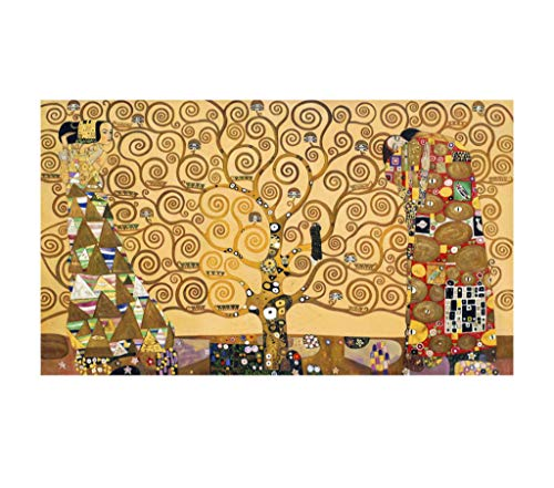 Social Crazy Stampa in Tela Canvas 100% qualità Italia - Klimt - L'Albero della Vita Effetto Dipinto Idea Regalo Casa Quadro Cucina Stanza da Letto Soggiorno (80x136)