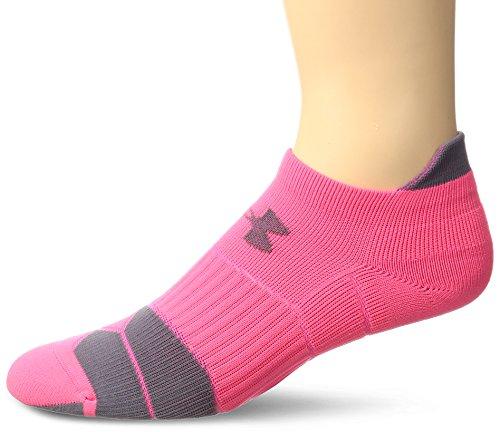 Under Armour Adult Run Cushion Tab No Show, 1-Pair, Pinkshock/Grey, Shoe Size: Mens 4-8, Womens 6-9