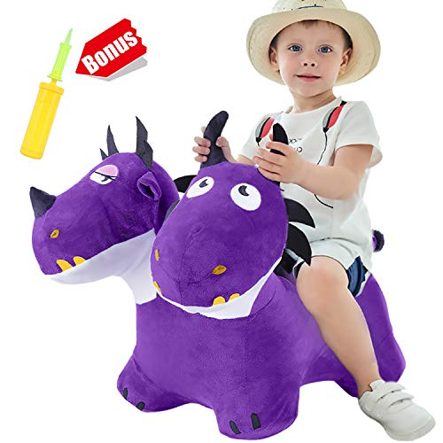 iPlay, iLearn Two-Headed Hopping Dragon Toys, Inflatable Bouncy Horse W/ Plush Cover & Pump, Indoor n Outdoor Animal Hopper, Jumping Riding Gift for 18 Months, 2 3 4 Year Old Toddler Kids Boys Girls