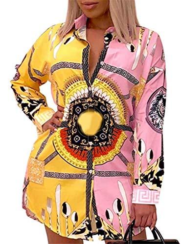 Women Shirt Collar Buttom Down Long Sleeves Printed Shirts Tops Shirt Dress Pink Yellow M