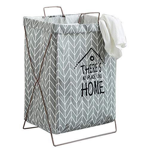 Katoen en linnen wasmand belemmert mand kleding, speelgoed opslag mand met grote capaciteit 60L Beugel inklapbaar Met dubbel handvat (Color : Home-Gray)