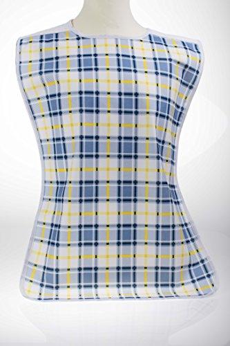 2er Pack Lätzchen mit PU-Beschichtung gelb mit Muster und Schlitzverschluß ArtCA174 oder blau mit PU Beschichtung mit Druckknöpfe CA175,wasserdicht, waschbar (blau/kariert),(gelb/kariert)