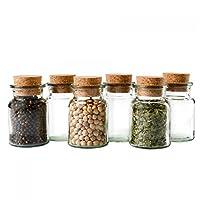 Gewürzgläser (6x 150ml) - Wiederverwendbare Glasdose mit Korkverschluss für die Aufbewahrung von Tee, Kräutern und Gewürzen