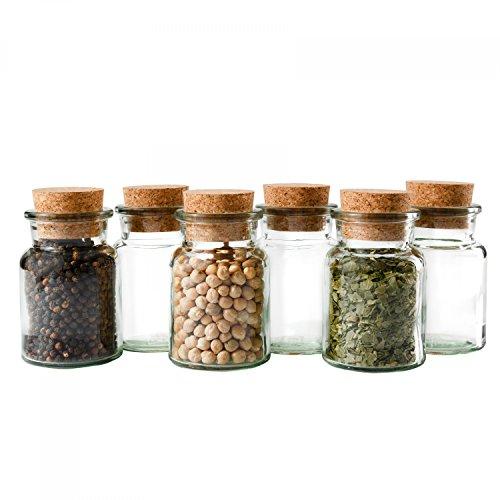 MamboCat 6er Set Gewürzgläser | Füllmenge 150 ml | Wiederverwendbare Glasdose + Korkverschluss | Hochwertiges Rundes Glas | Aufbewahrung von Tee Kräutern Gewürzen