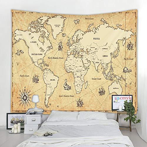 KHKJ Tapiz de Mapa del Mundo Tela de Mapa de Alta definición Colgante de Pared decoración Acuarela Mapa Carta Cubierta de Mesa Toalla de Playa A4 200x180cm