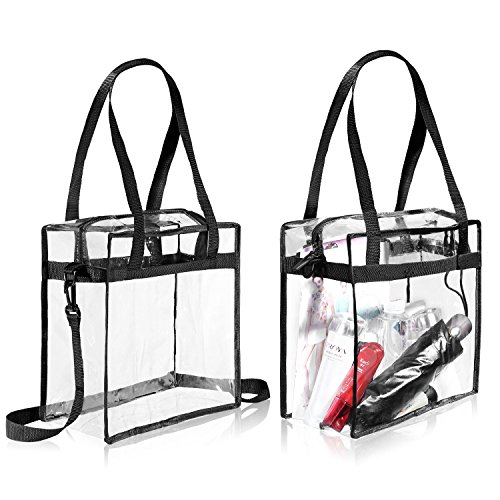 """Clear Bags NFL & PGA Stadium Approved - The Clear Tote Bag with Zipper Closure is Perfect for Work, Sports Games.Cross-Body Messenger Shoulder Bag w Adjustable Strap -12"""" X 12"""" X 6"""" (Two Bag)"""