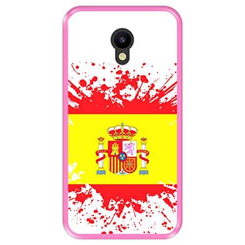 Hapdey silikon Hülle für [ Meizu M5 ] Design [ Illustrationssymbol 1, Flagge von Spanien ] Rosa Flexibles TPU