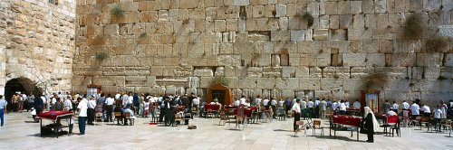 Walls 360 Peel & Stick Wall Mural: Crowd Praying in Front of Wailing Wall (48 in x 16 in)