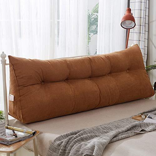 xjm Rectangle Triangular Bed Head Big Long Soft Cotton Linen Cushion Backrest Waist Support Pillow Mat Pad For Home Office150 * 50 * 22cm (Color : Chocolate)