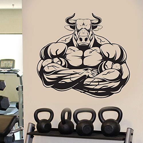 GYM Fitness Sports Strong Power Muscle Bull Dumbbells Etiqueta de la pared Vinilo Arte Calcomanía Sala de entrenamiento Dormitorio Bodybuilding Club Decoración para el hogar Mural