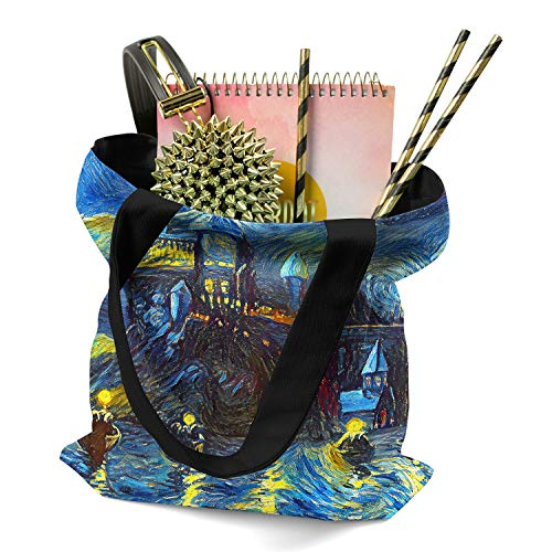 Westlake Art Starry Night Castle Night Boats Tote Bag Abstract Artwork Reusable Grocery Bag Shopping Gym Work Harry Potter Machine Washable Van Gogh - 16x16 Inch