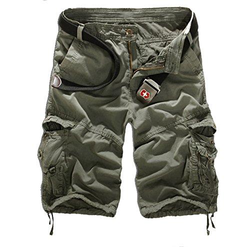 WSLCN Homme Eté Cargo Shorts de Loisir Capri Mi-Longues Pantacourt (sans Ceinture) Gris 44 (Taille Fabricants (in) 36)