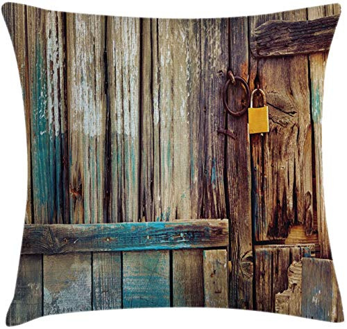 BONRI Rustic Throw Pillow Cushion Cover, Aged Shed Door Backdrop with Color Details Country Living Exterior Pastoral Mansion Image, Decorative Square Accent Pillow Case,Brown Teal,(16'x16' / 40x40cm