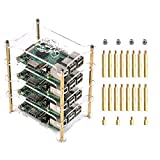 Techson 4 Layers Clear Acrylic Rack Case for Raspberry Pi 4B / 3B / 3B+ Model, Mount Blade Server, Stackable Cluster Plate Shelf