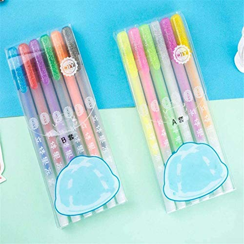 6/12 Pcs Popular 3d Glossy Jelly Ink Pen Set,sparkled Assorted Colors Fade-proof...