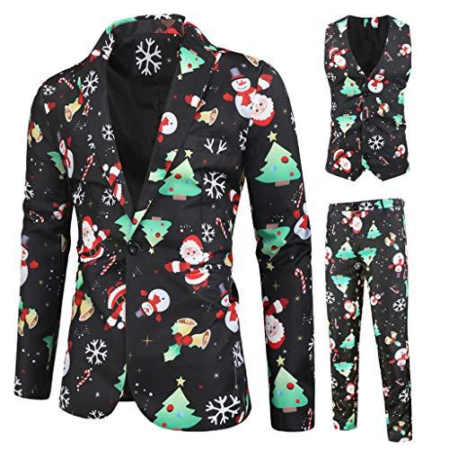 Hniunew Festlich Weihnachtsanzug Herren Sakko Hosen Weste Set Slim Fit Herrenanzug 3-Teilig Anzug Smoking Anzugjacke Party Weihnachts KostüM Suits Jungenanzug Tweed Design Blazer