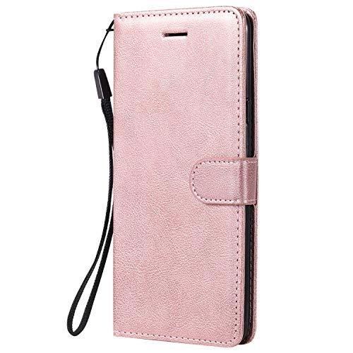 Hülle für Galaxy A20S Handyhülle Schutzhülle Leder PU Wallet Bumper Lederhülle Ledertasche Klapphülle Klappbar Magnetisch für Samsung Galaxy A20S - ZIKT050217 Rosa Gold