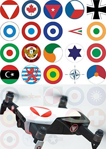 Roboterwerk Drohnen Skin-Abzeichen internationaler Militärs Aufkleber Folie – Modellflug Sticker Drohne Zubehör Emblem – professioneller Digitaldruck (Deutschland)