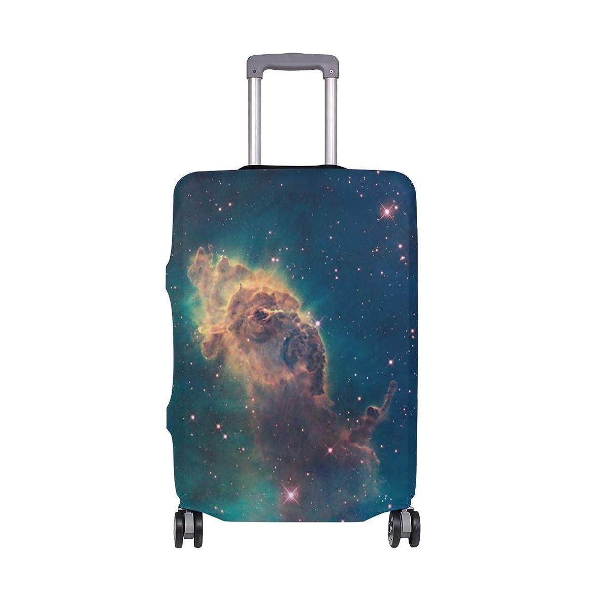 コーススペイン残酷スーツケースカバー 防水 目立つ柄 旅行 弾性設計 防塵 ラゲッジカバー キャリーカバー おしゃれ 人気 S M Lサイズ プレゼント (宇宙 星雲)