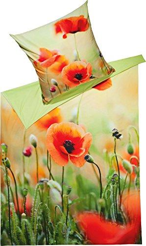 REDBEST Wende-Bettwäsche Renforcé Mohnblume Größe 135x200 cm (80x80 cm) - mit Reißverschluss, strapazierstark, atmungsaktiv, hochwertiger Digitaldruck