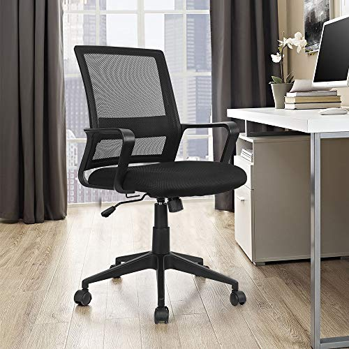 LUCKWIND Ergonomic Office Desk Chair Mesh – Computer Executive Lumbar Support Tilt & Tension Control Mid Back Modern Swivel Home Office Task Chair Conferrence Fabric (BIFMA Tested)