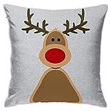 Fundas de Cojines Christmas Rudolph Red Nose Reindeer Face Decoraciones para el hogar Fundas de Almohada Suaves para Cama de Coche Sofá de Dormitorio 18X18 Pulgadas