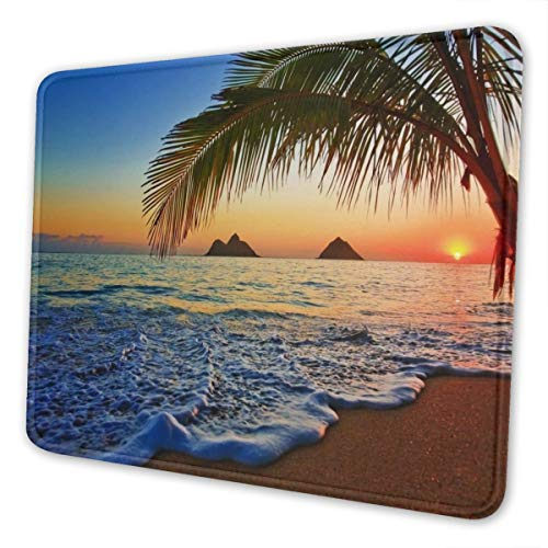 Hawaii Beach Mouse Pad Non-Slip Rubber Base Stitched Edges Gaming Mousepad for Computers Laptop